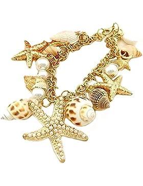 Statement Armband mit verschiedenen Meeresobjekten | Armkette Ozean-Art | Seesterne + Perlen + Muscheln | Perfektes...