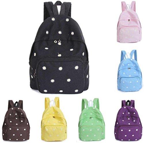 Kanpola Teenage Girl Boy Zipper Schule Taschen Rucksack Mode Stickerei Oval Leinwand Braun
