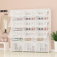 PREMAG Portable Shoe Storage Organzier Tower, White with transparent doors, Modular Cabinet Shelving for Space Saving, Shoe Rack Shelves for shoes, boots, Slippers