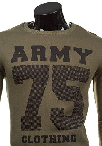 BOLF Herren Sweatshirt Langarmshirt Pullover Pulli Army Classic 1A1 Motiv Grün_0593