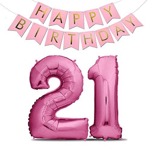 (Zenball Luftballons Geburtstag XXL 101cm Pink Set mit Girlande - Riesen Folienballons in 40