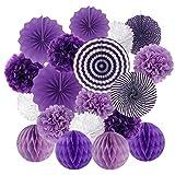 Lazzboy Honeycomb Balls Girandola Set 19 Pz Kit Appeso Carta Ventaglio Fiore Colorato per Compleanno Matrimonio Sposa Decorazioni per Feste(Viola,19 Pieces)