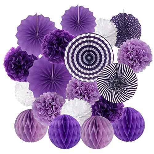 Lazzboy Hängende Papierfächer Blumen Ball Seidenpapier Blumen-und Bienenwaben Bälle Papier Pompoms, Wabenbälle Dekorpapier Parteien Hauptdekorationen (Violett)
