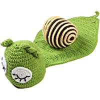 SM SunniMix Recién Nacido Niño Niña Crochet Tricotado Bebé Caracol Traje Conjunto Photo Prop Sostenes