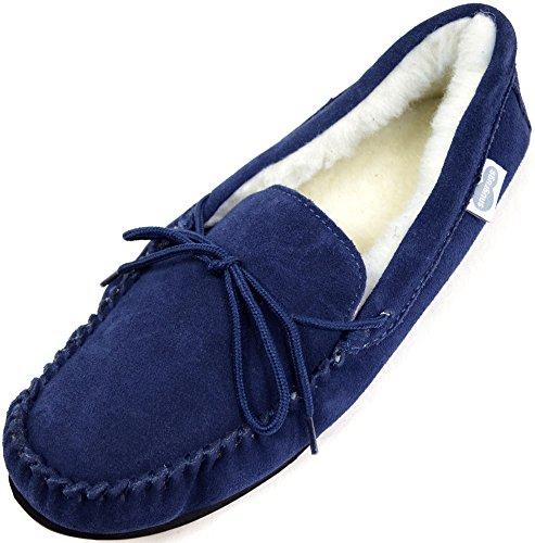 Snugrugs Herren Monty, Wool Lined Moccasin Slippers Sneaker Low-Tops, blau (Marineblau), 51 EU