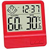 GuDoQi Electronic Digital Wet Thermometer Indoor Home Desktop Thermometer Baby Room Electronic Hygrometer With Alarm Clock Function Red