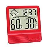 GuDoQi Elektronisches Digitales Nasses Thermometer Indoor Hause Desktop Thermometer Babyzimmer Elektronisches Hygrometer Mit Weckfunktion Rot