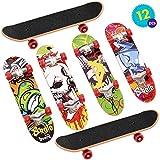 THE TWIDDLERS 12pcs Mini Skateboard da Dito | Skate per Dita Giocattolo da 5 Tasti Deck Truck Finger Board Skate Park Boy Bambini Regalo per Bambini | Bomboniere Giocattoli Festa