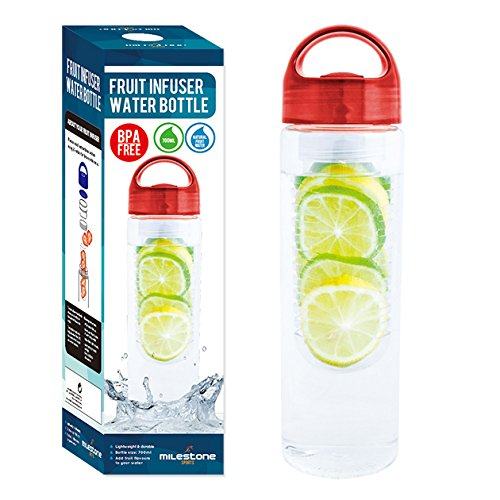 MILESTONE Fruit-Ei Wasser Getränke Flasche, rot, 0,7Liter (Eis-filtration)