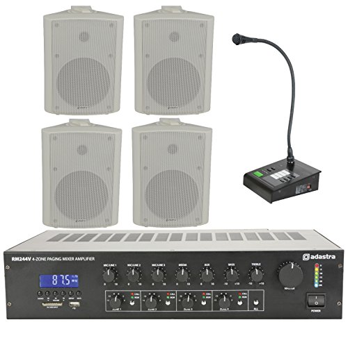 Business Paging Kit 4 Zone PA Adastra Amplifier & Call Station Microphone Announcement 6.5