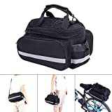 OneSkyUK Bike Pannier Bag, Waterproof Durable, Reflective Patches, Fastening Tapes, Bicycle Rear Seat Handbag with Rainproof Cover (Black)