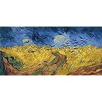 Wieco Art–Framed Giclee stampe su tela di Van Gogh campo di grano con corvi, moderno famosi dipinti ad olio riproduzione paesaggio immagini su tela da parete per soggiorno decorazioni van-0007