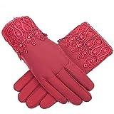 Touchscreen-Handschuhe Verdicken warm halten Memory-Tuch-Touchscreen Winter Plus Baumwolle zum Warmhalten Memory-Tuch-Fahrt Winter Fahren perlrot Einheitsgröße