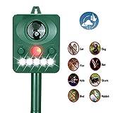 Acidea Solar Ultrasonic Animal Repeller, Outdoor Waterproof Pet Repellent with LED Flashing Light