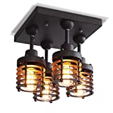 Industrial Retro Quadrat E27×4-Flammig Deckenlampe Persönlichkeits-Design Vintage Metall Schwarz Deckenleuchten Wohnzimmerlampe Esstischleuchte Deckenleuchte