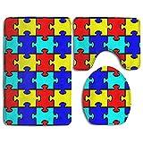 GGdjst Autism Jigsaw Puzzle Craft Conjuntos de Alfombrilla de baño de 3 Piezas Non-Slip Bathroom Large Mat 19.5 x 31