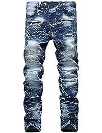 Solde Grande Taille Homme Jean Vintage,Overdose Automne Hiver Pantalon  Denim Jeans Motard Slim DéLavé c652c91fb3d