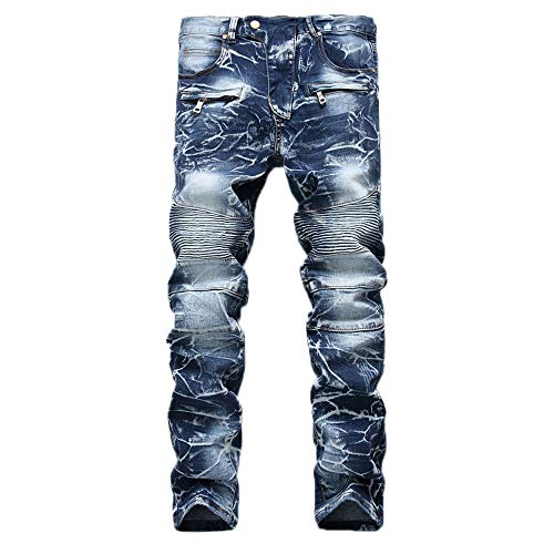 Geili Herren Jeans Hose Lang Vintage Used Look Destroyed Hohl Löchern Jeanshosen Denim Pants Basic Regular Fit Straight Jeans Große Größen Hip Hop Biker Hose Radlerhose Radhose - Biker-dress-shirt