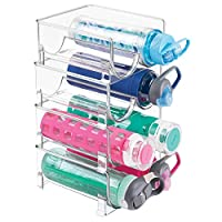 mDesign 4-Pack Bottle Rack - Stackable Storage for Water Bottles and More - Ideal as a Wine Rack or Wine Stand - Transparent/Clear
