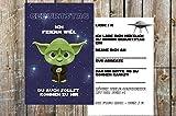Star Wars Einladungskarten zum Kindergeburtstag für Jungen - Geburtstagseinladungen für Kinder mit Motiv Yoda - 8 Stück
