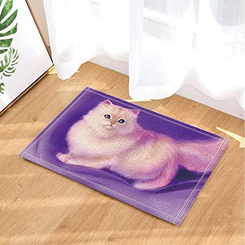 gwregdfbcv Weiß Nette Katze auf purpurrotem Hintergrund Lila Blick auf Augen-Badezimmermatten-Antirutschboden-Inneneingangstürmatten-Bodenmattenkinder 40X60CM