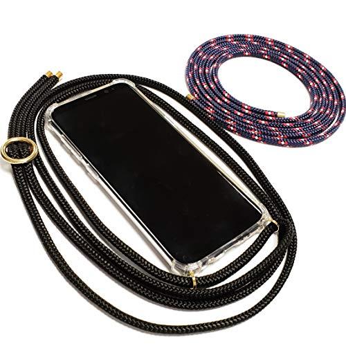Pink Cinnamon Set Handykette mit Smartphone Hülle Plus Wechselband für Huawei P10 Lite Band: Black, Wechselband: Captain, Metallteile: Gold