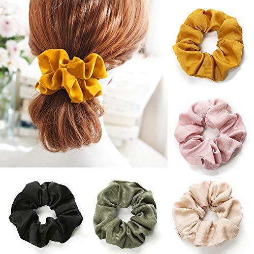 Peinados para el cabello Señora Sólido Color puro Bandas para el cabello Anillo grande Elástico Bobble Lazos para el… 2