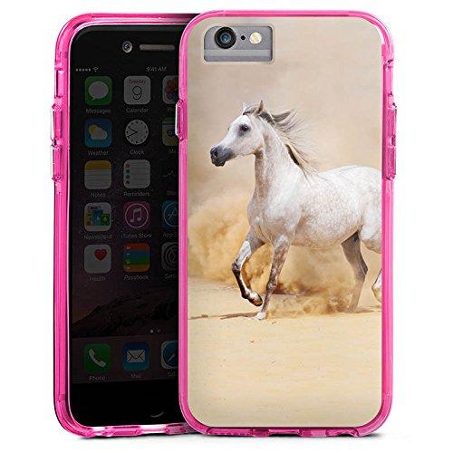 Apple iPhone X Bumper Hülle Bumper Case Glitzer Hülle Pferd Horse Araber Bumper Case transparent pink