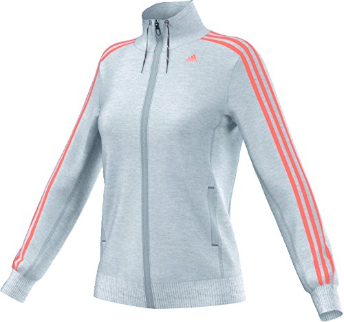 adidas, Giacca da allenamento Donna Essentials 3S, Grigio (Light Grey Heather/Flash Orange), XXS