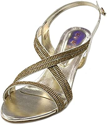 W & W Mujeres Ladies tarde Diamante sandalias de tacón bajo Prom Party boda novia zapatos tamaño, plateado, dorado (san1010)