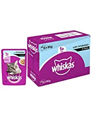 Whiskas Adult (+1 year) Wet Cat Food, Whitefish in Gravy, 12 Pouches (12 x 85g)