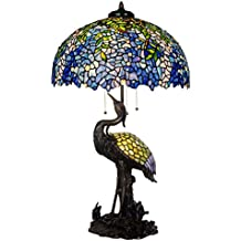 Bieye L30502 20-inches Wisteria Tiffany Style Stained Glass Table Lamp with 100% Brass Red-crowned Crane Base, Double Lit, 35-inch Tall