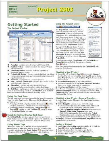 Microsoft Project 2003 Quick Source Guide