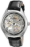 Akribos XXIV Hommes de montre mécanique avec cadran argenté, affichage analogique et bracelet en cuir noir ak802ssb