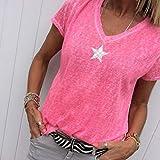 CTQBB Estampado de Estrellas Camiseta Mujer Moda de Verano Camiseta de algodón de Manga Corta Tops con Cuello en v Camisetas Tops Talla Grande Comodidad Refrescante y Transpirable