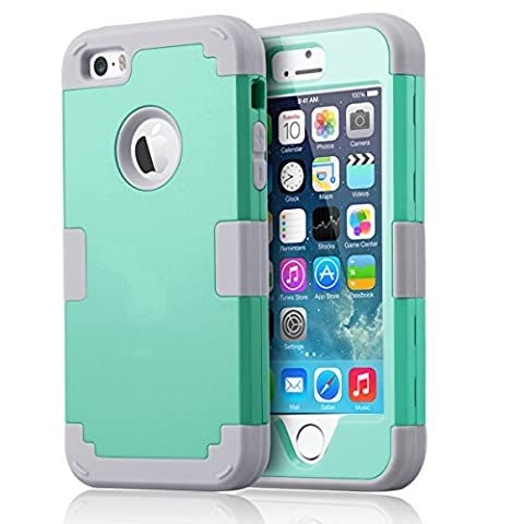 iPhone SE Case, iPhone 5S Case, iPhone SE Case, BENTOBEN 3 in 1 Drop Protection Heavy Duty Rugged Anti-scratch Hybrid Hard PC Soft Silicone Protective Shockproof Case Cover for iPhone 5 / 5S / SE, Mint