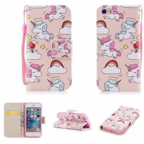 Nancen Apple iPhone 5 / 5S / SE (4 Zoll) Hülle , Magnetverschluss Standfunktion Brieftasche und Karten Slot , Taschen & Schalen