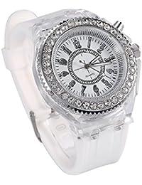 Boy Girl Wrist Watch, Quartz Silicone Wrist Rhinestone Crystal 7 LED Light Analog Round Love Sport Watch(#-White)