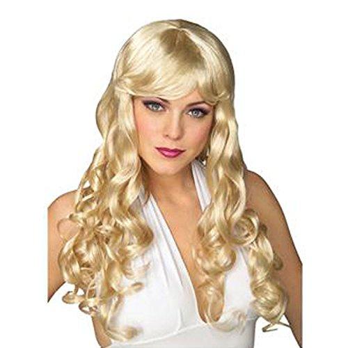 Européenne Vent Jaune Cheveux ondulés cosplay perruque