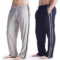 Pack 2 Hombre/Caballeros Pijama Liso pijama Pantalones Pantalones De Andar Por Casa, Varias Tallas - algodón, Azul, 15% viscosa 85% algodón 100% algodón, Hombre, Large