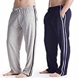 da Uomo Pigiama Lounge Pantaloni Lunghi Morbido Jersey Insignia Confezione da 2 Tinta Unita