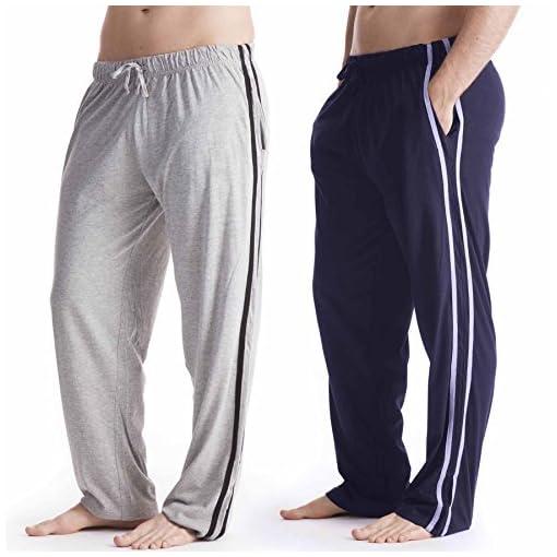 Confezione-Da-2-UomoDa-uomo-Abbigliamento-da-notte-Tinta-unita-Pigiama-Pantaloni-Pantaloni-Da-Casa-Varie-Taglie