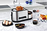 Aicok Toaster, 3 in 1 praktischer Automatik Toaster mit Eierkocher und elektrischee Pfannen, (1250 Watt, bis zu 7 Bräunungsstufen und 2 Brotscheiben, gebürsteter Edelstahl) - 7