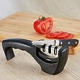 BEVOZA BOG-1018 Afilador de cuchillos cerámica, grueso y fino de 3 fases Para hojas de cerámica y acero inoxidable (Negro)