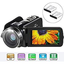Caméscope Aabeloy Youtube Vlogging Camera HD 1080p 24.0MP Ecran LCD 3.0 Pouces Écran Rotatif à 270 Degrés Fonction de Pause avec Zoom Numérique 16X avec Enregistreur Numérique et 2 Piles