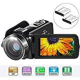 Video Camcorder, Aabeloy YouTube Vlogging Kamera Videokamera HD 1080P 24.0MP LCD-Bildschirm 270 Grad Drehbar Bildschirm 16X Digitalzoom Pause-Funktion Digitalkamera-Recorder mit 2 Batterien