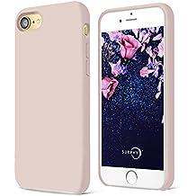 Funda iPhone 7,SURPHY Ultra suave 4.7 pulgadas Case líquido de silicona Gel iPhone 7 Slim Fit suave con forro de gamuza de microfibra suave cojín,Rosado