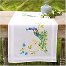"""Vervaco """"Peacock and Flowers"""" Runner Embroidery, 100 Percent Cotton, Multi-Colour"""