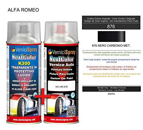 Kit Vernice Auto Spray 876 NERO CARBONIO MET. e Trasparente Lucido Spray - kit ritocco vernice metallizzata 400+400 ml di VerniciSpray