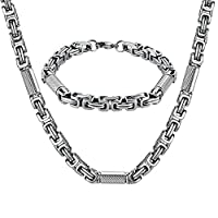 AMDXD Jewelry Stainless Steel Bracelet Necklace Sets for Men Rectangle and Cylinder Silver 60.3X1CM